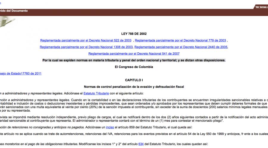 Ley 788 de 2002 Normas en materia tributaria; microorganismos exentos de IVA
