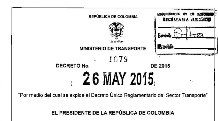 Decreto 1079:2015 – Decreto Único Reglamentario del Sector Transporte