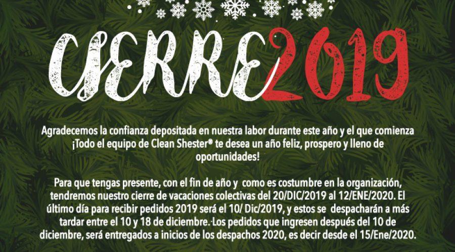 Fin de Año 2019 – Vacaciones Colectivas del 20/DIC/2019 al 12/Enero/2020