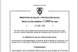 Resolución 0666 de 2020 del 24 de ABRIL de 2020 – Protocolo de bioseguridad para mitigar la pandemia del  Coronavirus COVID-19